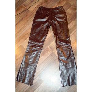 Plum 100% leather pants w. pockets